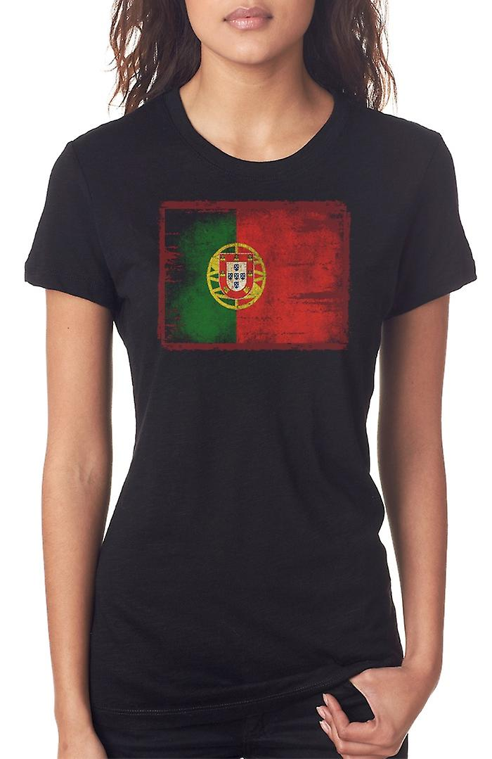 Portuguese Portugal Grunge Flag Ladies T Shirt
