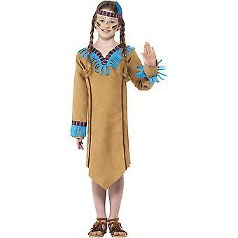 Amerikanischer Ureinwohnerin Kinderkostüm Kleid Mädchen Karneval Indianerin Squaw