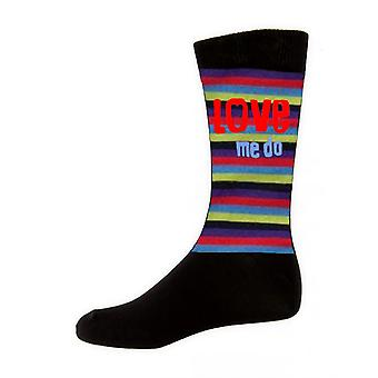 The Beatles Love Me Do Stripes Official Mens New Black Socks (UK Size 7-11)