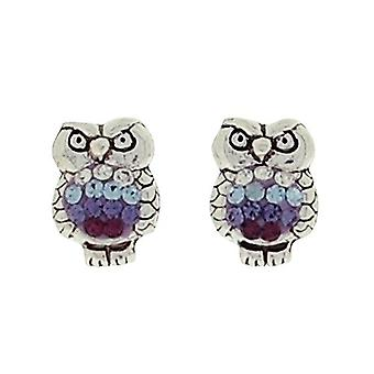 TOC Girls Sterling Silver Purple Crystal Set Owl Stud Earrings