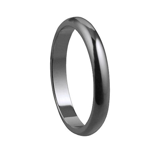 Platinum plain D shaped Wedding Ring 3mm wide in Size P