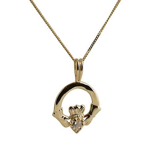 9ct Gold 20x15mm cubic zirconia set Claddagh Pendant with a curb Chain 18 inches
