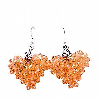 Handcrafted Swarovski 3mm Peach Crystals Puffy Heart Earrings