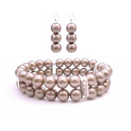 Bridemaides Bracelet & Earrings Simulated Brown Pearl Double Stranded Stretchable w/ Silver Rondells