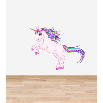 Full Colour Rainbow Unicorn Wall Sticker
