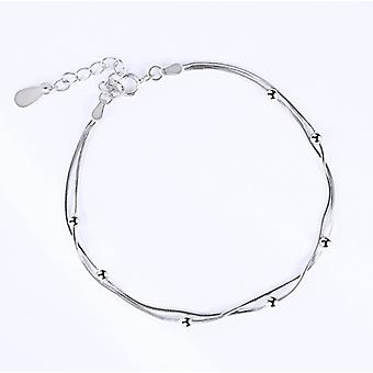 925 Sterling Silver Multiple Chain Solid Charm Bracelet