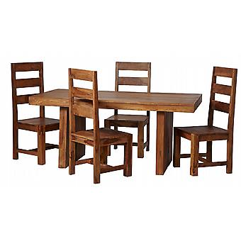 Nantes Solid Sheesham 170Cm Dining Table Set With 4 Wooden Chairs