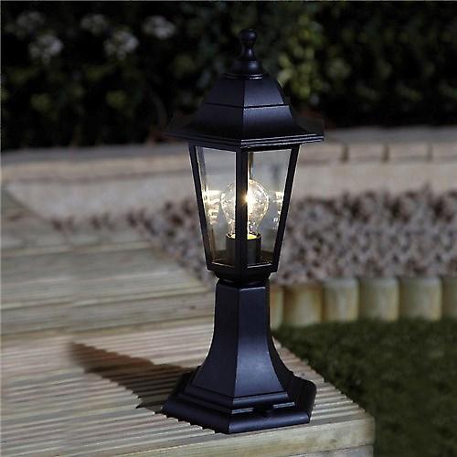 Saxby EL-40046 Bayswater IP44 60W Outdoor Pedestal Lantern In Black