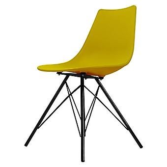 Chaise de salle à manger en plastique iconique de moutarde de fusion avec des jambes noires de métal