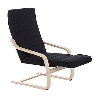 HOMCOM Wooden Lounging Rocker Deck Rocking Chair Relaxing Recliner Lounge Seat w/ Adjustable Footrest & Removable Cushion (Black)
