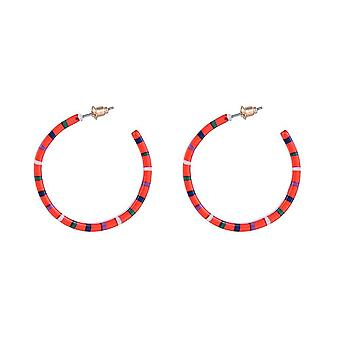 Jewelcity Sunkissed Womens/Ladies Dash Line Hoop Earrings