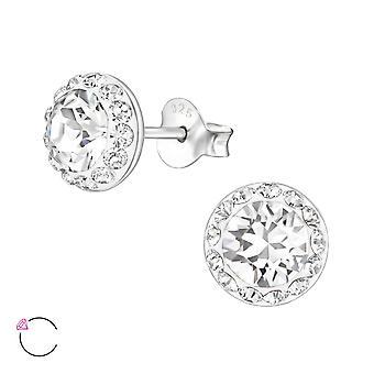Round crystal from Swarovski® - 925 Sterling Silver Ear Studs - W23933X