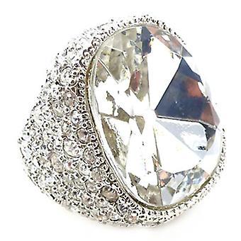 Plata de Kenneth Jay Lane y anillo de linterna de cristal Pave
