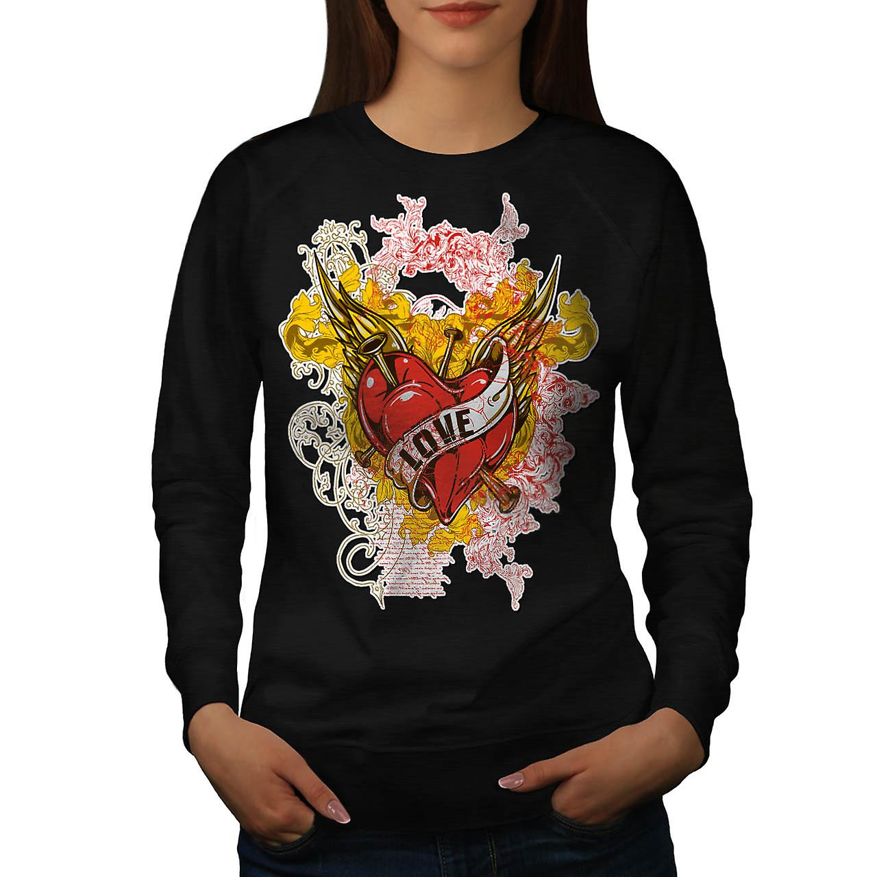Love Heart Horror Romantic Lust Women Black Sweatshirt | Wellcoda