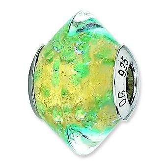 Argent sterling reflets jaune Teal italien Murano Glass Bead Charm
