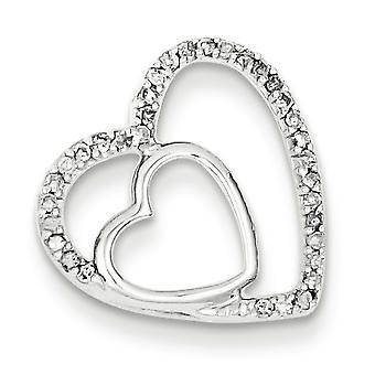 Sterling Silver Diamond Heart Pendant - .12 dwt