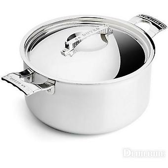 De Buyer Sauté-pan with 2 handles and lid MONT BLEU FRENCH COLLECTION