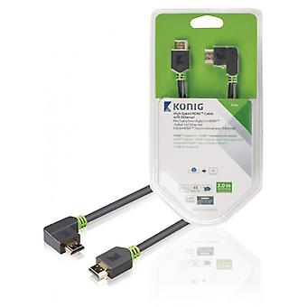 König high speed HDMI ™ cable with Ethernet HDMI ™ connection-HDMI ™ connection left angled 3.00 m grey