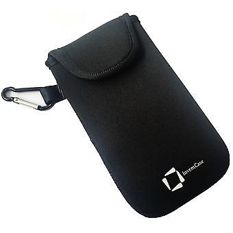 ベルクロの閉鎖とノキア Lumia 730 - 黒のアルミ製カラビナと InventCase ネオプレン耐衝撃保護ポーチ ケース カバー バッグ