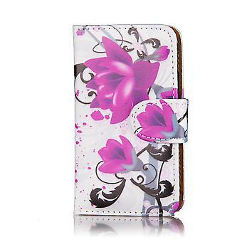 Design Buch Leder Case Cover für Samsung Galaxy S2 i9100 - lila Rose