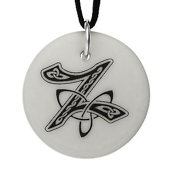 Handmade Celtic Initial Round Shaped Porcelain Pendant - Letter 'Z' ~ 20 inch Chain