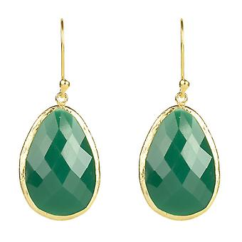 925 Sterling Silver Dangle Drop Earrings Gold Dark Green Onyx Hook Big Jewellery