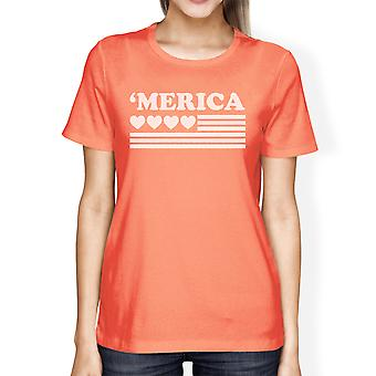 Heart American Flag Cute 4th Of July Decorative T Shirt For Women