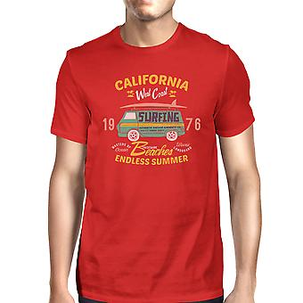 California Beaches Graphic T-Shirt For Men Red Lightweight Cotton