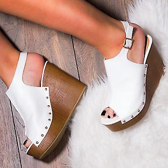 Spylovebuy WOWED Platform Croc Print Wedge Heel Sandals Shoes - White Leather Style