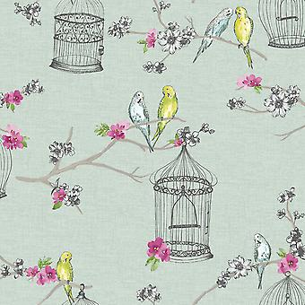 Birds Wallpaper Birdcage Flowers Floral Love Hearts Teal Pink Yellow Arthouse
