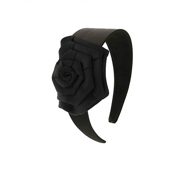 W.A.T Black Satin Ribbon Rose Flower Hair Band