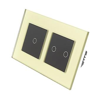 I LumoS Gold Glass Double Frame 3 Gang 1 Way Touch Dimmer LED Light Switch Black Insert
