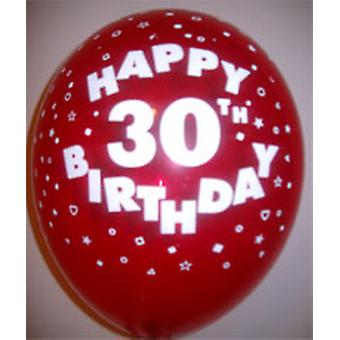 """Balloons HAPPY 30TH BIRTHDAY Assorted Colours 12"""""""