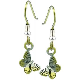 Ti2 Titanium Woodland Small Butterfly Drop Earrings - Yellow