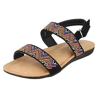 Girls Spot On Flat Aztec Slingback Sandals H0247