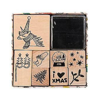 Magical Christmas Unicorn 8pc wooden stamp set, complete with black ink pad