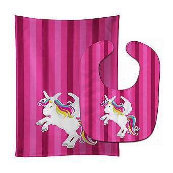 Carolines Treasures  BB9090STBU Unicorn Pink Stripes Baby Bib & Burp Cloth