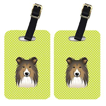 Pair of Checkerboard Lime Green Sheltie Luggage Tags