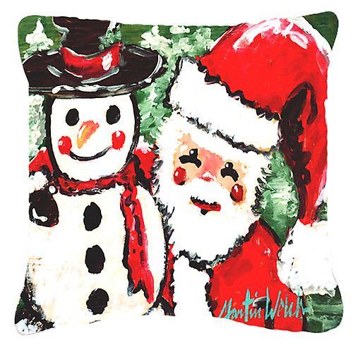 Coussin décoratif amis bonhomme de neige et père Noël toile tissu