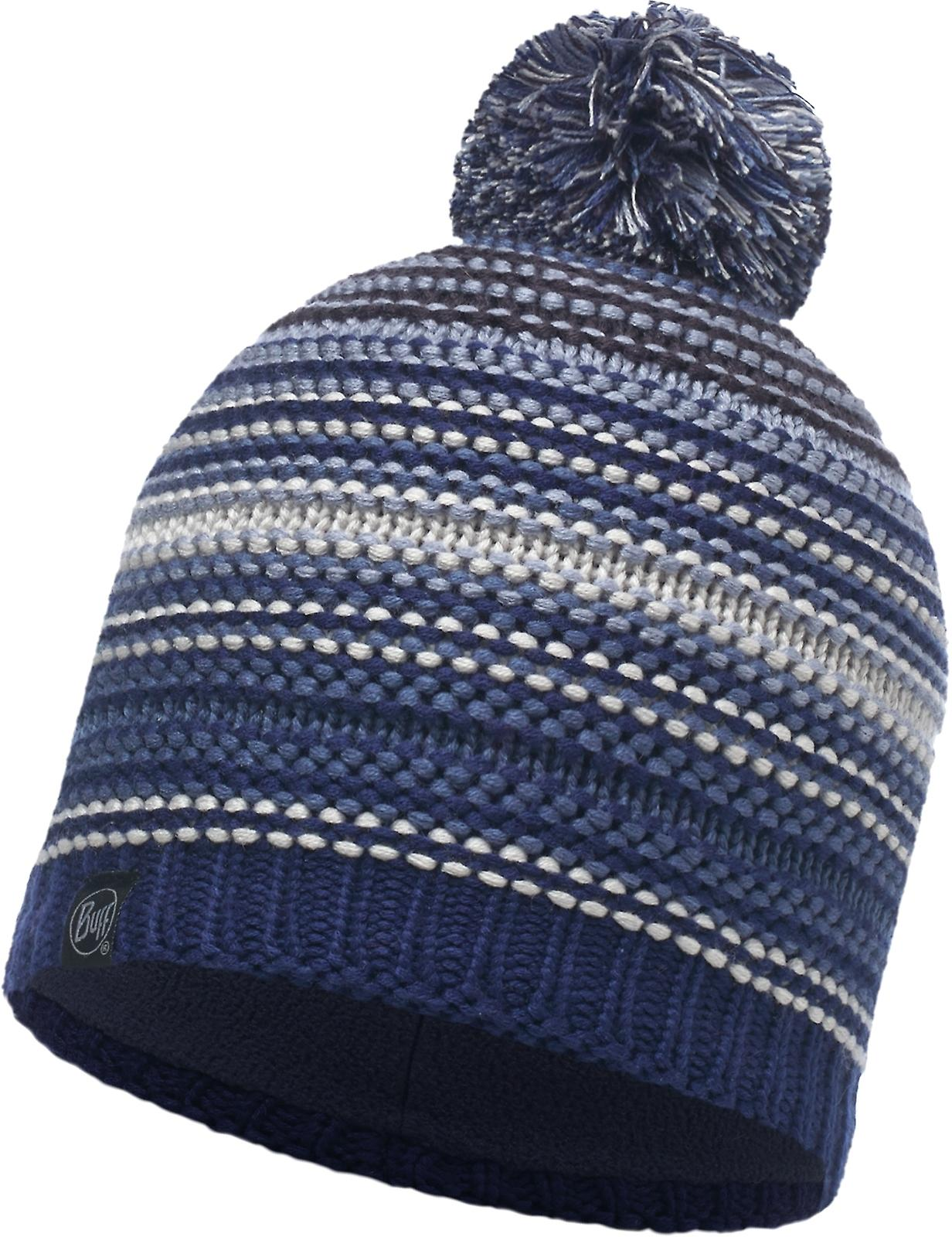 Buff Neper Knitted Bobble Hat in Blue Ink