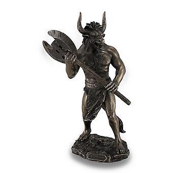 Bronze Finished Minotaur With Labrys Statue Greek Mythology