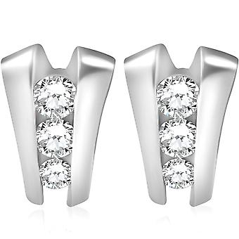 1.40CT 3 Stone Diamond Earrings 14K White Gold