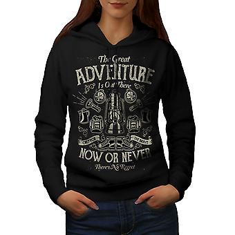 Abenteuer nie Slogan Frauen BlackHoodie | Wellcoda