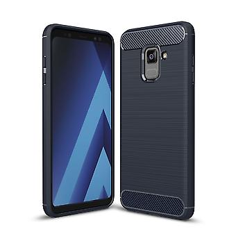 Samsung Galaxy A8 2018 TPU case carbon fiber optics brushed protective case Blue