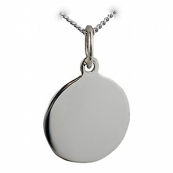 9ct White Gold 13mm round plain Disc with a curb Chain 20 inches