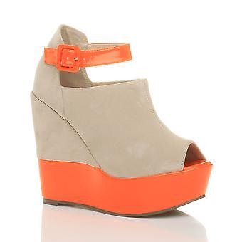 Ajvani dame høj kile hæl ankel rem spænde neon kontrast peep toe platform sko