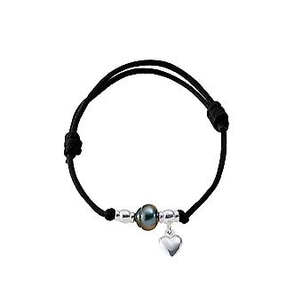 Adjustable bracelet, Tahitian Pearl, Silver 925/1000 heart woman and black wax cotton