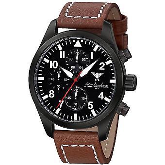 KHS Herrenuhr Airleader black steel chronograph KHS. AIRBSC. LB5