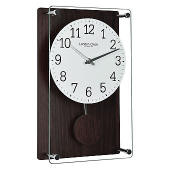 35 cm Dark Wood Effect Pendulum Wall Clock