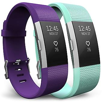 Yousave Fitbit Charge 2 band 2-Pack (klein) - pruim/mintgroen